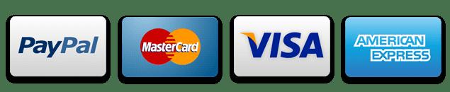Paypal, mastercard, visa and american express.