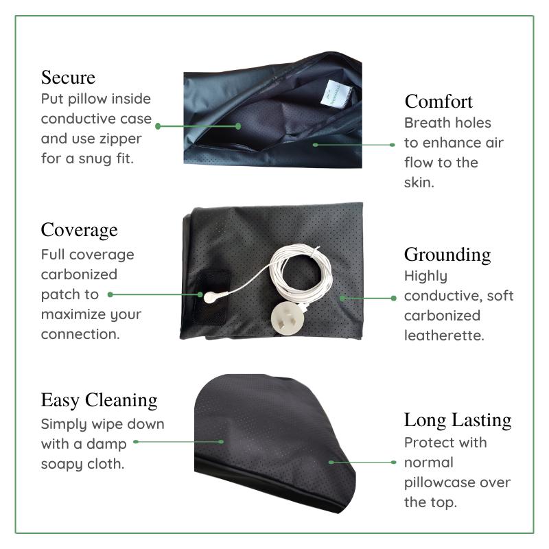Earthing pillowcase details in premium grounding range.